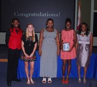 2015 Winners Coby Golden, Merisa Moroz, Jeniel McKinley, Leeandrea Jones, and Chantel Peak